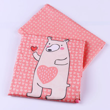 50cm*40cm 100%Cotton Fabric Zoo Deer Rabbit Fox Cat Sheep Pink Series Tissu DIY Patchwork Sewing Baby Clothing Quilt Dolls Tilda