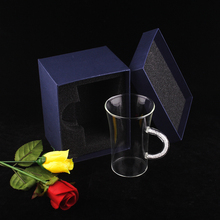 new arrival heat-resistant borosilicate glass customed 320ml/11.3oz wedding crystal tea & coffee mug with crystals inside handle(China)