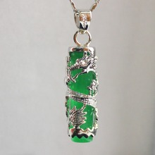Wholesale free shipping Chinese Wind Cylinder Green JADES Dragon Relief Women Pendants Necklace