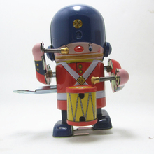 The drummer marching band Retro Tin Robot Wind Up Toys Classic Tin For Boy Vintage Handmade Crafts Adult Nostalgic For Children(China)