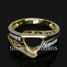 FASHION Jewelry Trillion 8x8mm With Natural Diamond Semi Mout Ring In Solid 14kt Two Tone Gold SR335