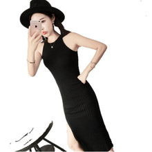 2017 Fashion Gray Knitted Women Halter Bodycon Dress Slim Fit Crop Top Wine Red Sexy Long Club Dress Summer Jersey vestido YY383