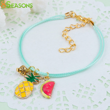 8SEASONS Woman Bracelets Mint Green Wax Cord Gold color Multicolor Flying Saucer Pineapple Fruit Enamel Charms 17.5cm, 1 PC(China)
