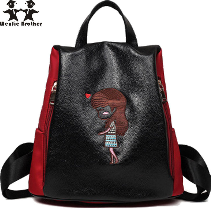 wenjie brothre anti-theft backpack female ladyfashion embroidery stitching Oxford cloth and backpack leisure bag wowen backpack <br><br>Aliexpress
