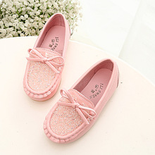 2017 Hot Sale Fashion Kids Shoes Children PU Leather Sneakers For Baby Shoes Crystal Bow Girls Casual Boat Shoes Slip On Soft