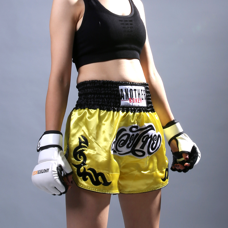 Boxing Short MMA Fitness Training Pants Men Kickboxing Fighting Sports Gym Black