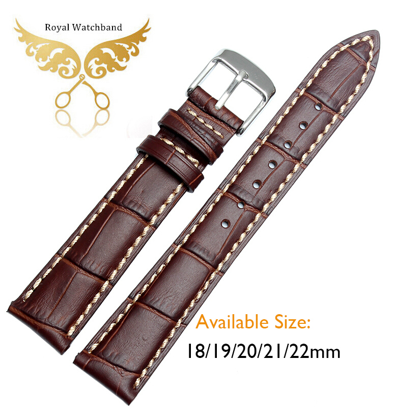 Promotion NEW Men Brown Crocodile Grain Geuine Leather Watch Bands Straps 18mm 19mm 20mm 21mm 22mm Free Shipping<br><br>Aliexpress