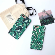 Ins' trend summer Cool Korean wind banana leaves Case For iPhone 7 7Plus Case For iPhone 6 6S Plus 6Plus Capa Fundas Plastic PC