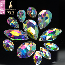 Crystal Castle 4A Glass Rhinestone Sewing Stone Oval Drop Navette Leaf Crystal AB Flatback Strass Sew On Rhinestone For Clothes(China)