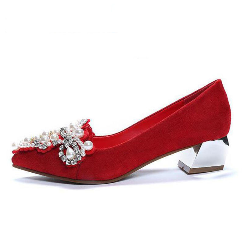 2017 spring and autumn rhinestone pointed toe low-heeled shoes maternity red wedding shoes thick heel bridal shoes married red<br>