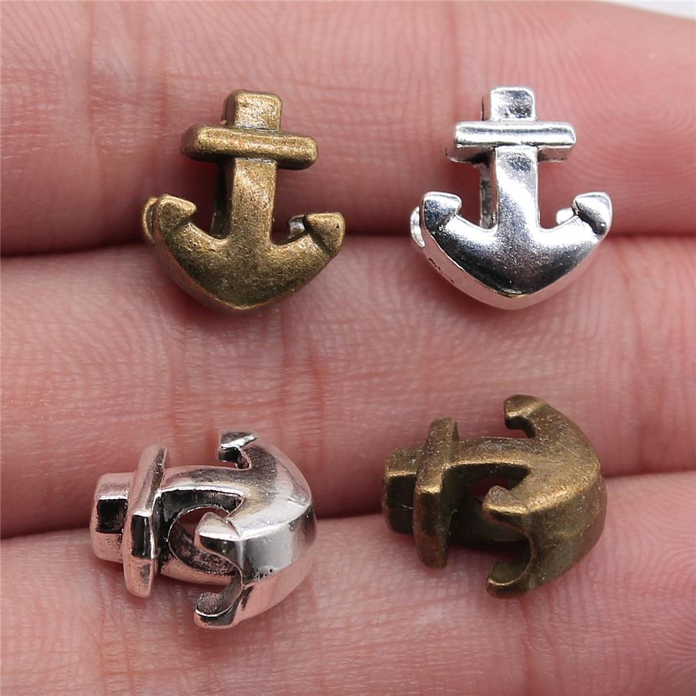 6pcs silver European beads Silver Big Hole anchor beads