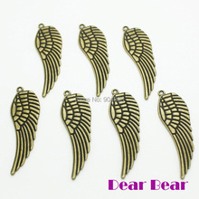 Vintage bronze double sided angel wing charms Length 48MM , 48 pcs/lot(China)