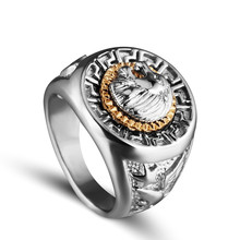 Monla Italina Rigant Men's 18mm Width Band Ring Cool Lion Eagle Star 18KGP Jewelry Size 8-15