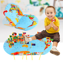 3D Wooden Map of the World national Plastic flag Stereo toy Children Puzzle early Learning toy kids toys(China)