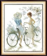 Радость воскресенье Велосипедный Спорт для девочек Вышивка крестиком узор комплекты рукоделие сделать вышивку с графиком(China)