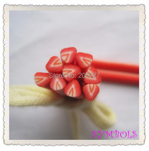 5pcs A-12 5mm Cute Strawberry Fruit Cane Fancy Nail Art Polymer Clay Cane Nail Art Decoration(China)