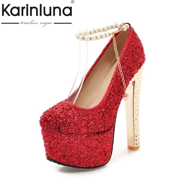 KarinLuna 2018 fashion large size 33-48 ankle strap platform pumps woman shoes thin high heels party wedding pumps<br>