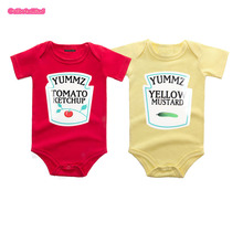 Culbutomind Yummz Tomato Ketchup Yellow Mustard Red and Yellow Bodysuit Baby Boy Twins Baby Clothes Twins Baby Boys Girls(China)