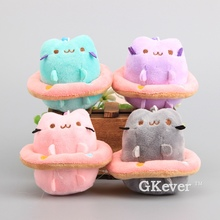 Anime Cute Pusheen Cat with Swim Ring 4 Pcs/Lot Mini Pusheen Plush Pendant Toys Soft Stuffed Animal Dolls 10 cm