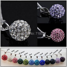 5 Pieces 925 Sterling Silver Shamballa Crystal Rhinestone Disco Ball Necklace Slide Pendant Party Jewelry(China)