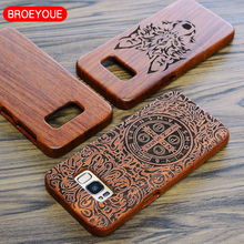 BROEYOUE Case For iPhone 7 Plus 6 6S Plus 5S 5 SE Wood Cover For Samsung Galaxy S8 S7 S6 Edge Plus S5 Note 8 3 4 5 Carving Cases(China)