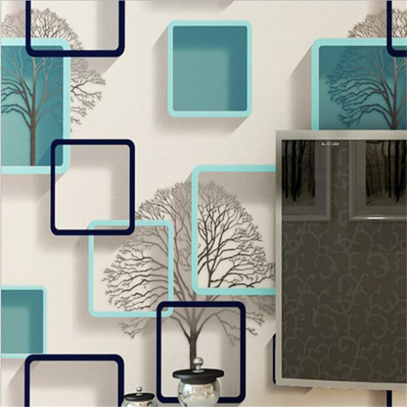 beibehang 3D cubical gingham wallpaper Abstract black white blue twig wallpaper Bedroom Living room tv background wall paper<br>