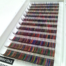 Rainbow color Individual Eyelash Extensions Korean Silk Fake False Eyelashes 12Rows Individual Lashes Extension for sale(China)
