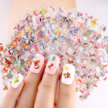 Blueness 24 Pcs/Lot Beauty Christmas Design Bronzing Nail Art Sticker Decals 3D Manicure Stamping Nails Stickers For JH159 Gift