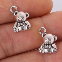 7pcs 15x10mm Antique silver plating Bear Charms Pendant jewelry findings for DIY Fit Bracelet&Necklace Accessories,Zinc Alloy(China)