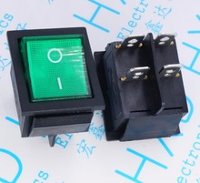 10pcs rocker switch 250V 16A 4 pin 2 files KCD4-201 Green/red with LED 31*25mm for power supply
