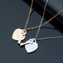 2017 Fashion Luxury Brand Stainless Steel Rose Gold Color Key Heart Love Pendant Necklace Women Gift