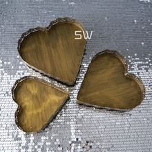 Fashion vintage gold cake pan heart shaped dessert plate wedding props sweetgo candy plate flat plate