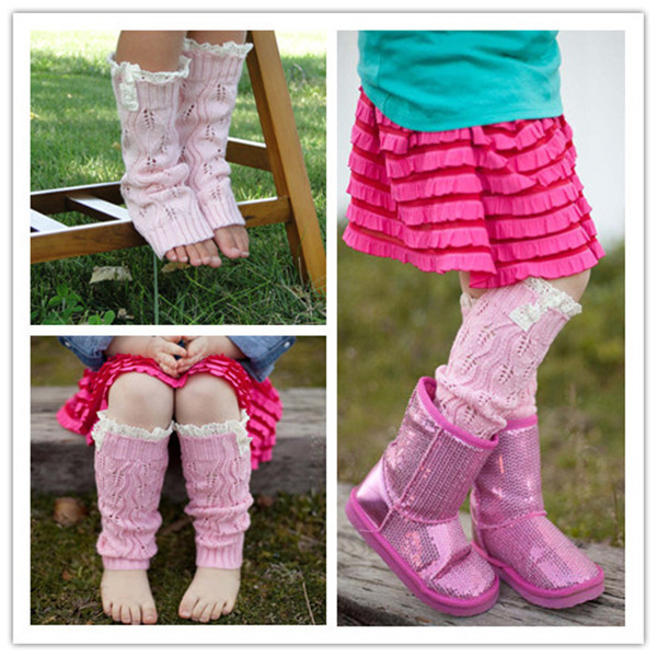 Kids' Fashion Little Girls' Knitting Leg Warmers Crochet Lace Trim Buttons Children Leg Warmers Winter Kid Boot Socks MU852390(China (Mainland))
