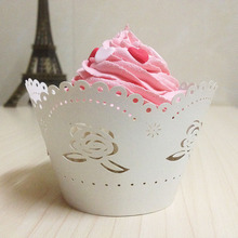 50pcs rose Laser Cut Cup Cake Wrapper Wedding Paper Cake Art Paper Baby Party Shower And Wedding Party Cupcake Wrapper(China)
