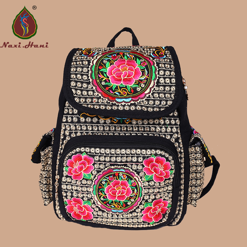 Naxi.Hani brand National style embroidery canvas women backpack boho Vintage fashion students backpack casual school bags<br>