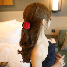 1 pc Korean Women Elegant Chiffon Rose Flower Bow Jaw Clip Barrette Hairclips Hairgrips Hairpins Headwear Hair Claw Gift