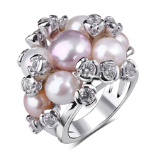 Elegant Latest Trend Item 2017 Women Deluxe High end Jewelry Ring AAA Cubic Zirconia Blossom Flower Natural Pearl ring women(Hong Kong)