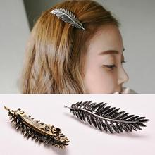 New 1 PC Leaves Elegant Jewelry European Fashion Noble Special Lovely Band Punk Leaf Hairpin Hair Clip Hair Accessory Women(China)
