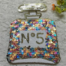 1Pcs Cute Designs Butterfly Perfume Bottle Embroidered Big Patches Clothes Sequins Patch DIY Hotfix Motif Applique Free Shipping