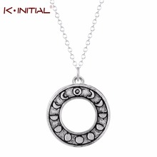 Kinitial 10Pcs Statement Phases of the Moon Necklace Dress Handmade Moon Phase Circle Pendant News Girl Women Fashion Jewelry(China)