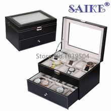 Free Shipping 20 Slots Black Leather Watches Box Top Quanlity Brand Watch Display Boxes New Rectangle Storage Box Case W141