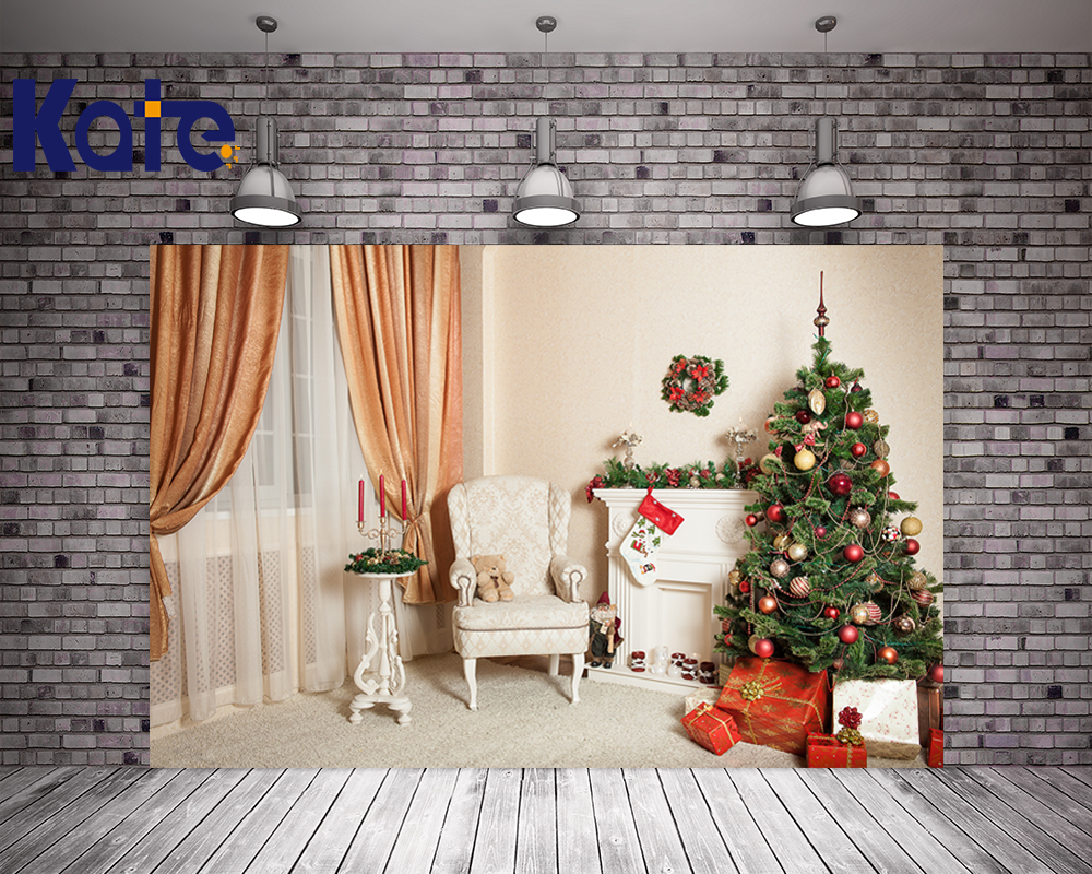 Kate No Wrinkles Wood Floor Christmas Photo Backgrounds Cute Bears For Newborn Photo Green Tree Fireplace Backdrops<br>