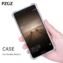 Pzoz huawei mate 9 case silicone original luxury shockproof huawei mate9 Cover Transparent Clear Protective mate 9 tpu phone(China)