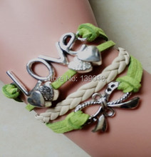 Hand-woven Beige Green Leather Suede Hallmark Cuff Charm Bracelets Bangles Heart Butterfly Bow LOVE Antique Silver Women Jewelry(China)