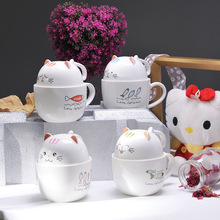 TECHOME Creative Cartoon Ceramic Mug Porcelain Cup Cute Cat 3D Mugs Large Capacity Glass Milk Cup with Lid