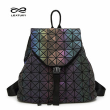 Leatury Luminous Backpack Diamond Lattice Bag Travel Geometric Women Fashion Bag Teenage Girl School Noctilucent Backpack