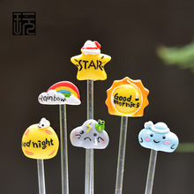 Zakka Cartoon Pastoral Style Rainbow/ Star/ Sun/ Cloud Resin Craft For Flowerpot Accessories Fairy Garden Miniatures Decoration