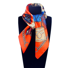 Imitated Silk Euro Design Bag and Chain Printed 60cm*60cm Small Square Scarf Woman Headband Hijab