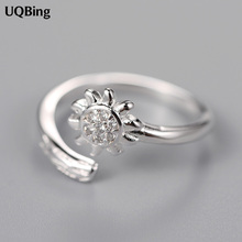925 Sterling Silver Rhinestone Sunflower Ring Open Ring Jewelry Christmas Gift Women Jewelry Finger Rings