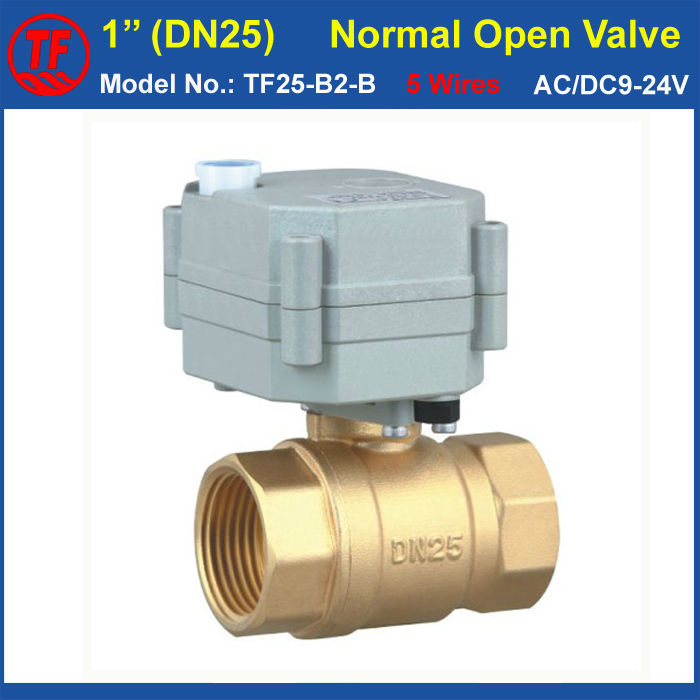 CE, IP67 Quality 5 Wires Power Off Return Valve TF25-B2-B AC/DC9-24V 2-Way DN25 Normal Open Valve With Manual Override<br>